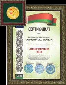сертификат лидерства санатория Лесные озера